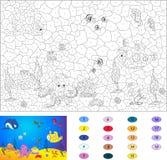 Kleur door aantal onderwijsspel voor jonge geitjes Onderwater wereld Stock Afbeelding