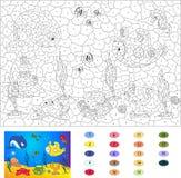 Kleur door aantal onderwijsspel voor jonge geitjes Onderwaterwereld, oce Stock Afbeelding