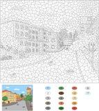 Kleur door aantal onderwijsspel voor jonge geitjes Oude stadsstraten Stock Foto's