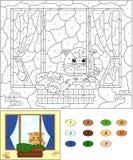 Kleur door aantal onderwijsspel voor jonge geitjes Venster met kat, stroom Stock Foto's
