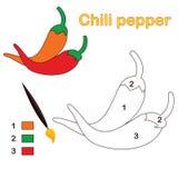 Kleur door aantal: Spaanse peper peper stock illustratie