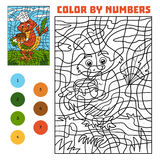 Kleur door aantal voor kinderen, Vogel met cake stock illustratie