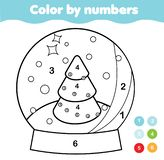 Kleur door aantallen voor jonge geitjes Onderwijsspel voor kinderen De bol van de Kerstmissneeuw De voor het drukken geschikte ac royalty-vrije illustratie
