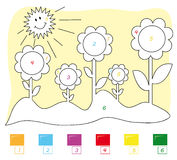 Kleur door aantalspel: bloemen Royalty-vrije Stock Foto's