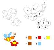 Kleur door aantalspel: De bij en de bloem Royalty-vrije Stock Afbeelding