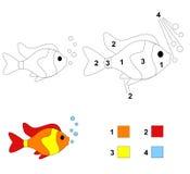 Kleur door aantalspel: De vissen Stock Foto's