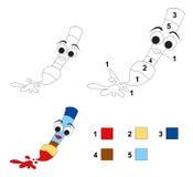 Kleur door aantalspel: Het penseel Stock Foto