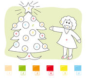 Kleur door aantalspel: Kerstmis boom Royalty-vrije Stock Afbeeldingen