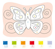 Kleur door aantalspel: vlinder Stock Foto