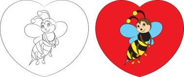 Before and after, kleur en contour boekt de kawaiitekening van een kleine bij op een hart voor de kleuring van kinderen of de Dag stock illustratie