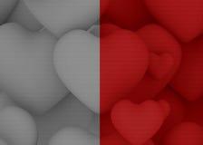 Kleur en grijze achtergrond met veelvoudig rood hart stock afbeelding