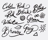 Kleur en illustratiehandschriftkalligrafie Stock Foto