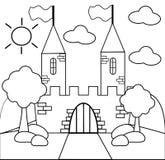 Kleur het kasteel vector illustratie