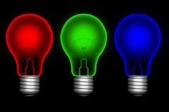 Kleur lightbulbs Stock Fotografie
