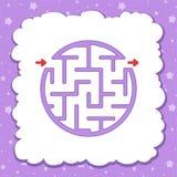 Kleur om eenvoudig labyrint Jonge geitjesaantekenvellen Activiteitenpagina Spelraadsel voor kinderen Labyrintraadsel Vector illus royalty-vrije illustratie