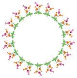 Kleur om kader met abstracte bloemen Stock Fotografie