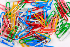 Kleur paperclips Royalty-vrije Stock Foto's