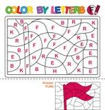Kleur per brieven Het leren van de hoofdletters van het alfabet Raadsel voor kinderen Brief F Vlag Peuteronderwijs stock illustratie