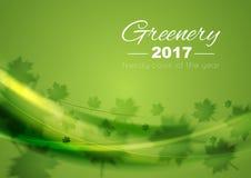 Kleur van jaar 2017 de achtergrond van Groengolven Stock Afbeeldingen