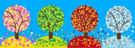 Kleur vier seizoenenbomen vector illustratie