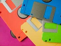 Kleur vijf van oude diskette Stock Afbeeldingen
