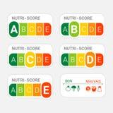 5-kleur Voedingsetiket Nutri-score systeem in Frankrijk royalty-vrije illustratie