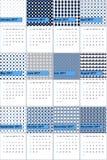 Kleurde de korenbloem blauwe en zwarte parel geometrische patronenkalender 2016 Stock Afbeeldingen