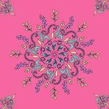 Kleurde het Mandala bloemenpatroon op een roze achtergrondethno beweging veroorzakende, vectorillustratie, eps 10 Stock Foto's