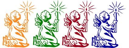 Kleurde kleine engelen royalty-vrije illustratie