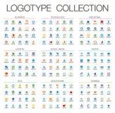 Kleuren abstract die embleem voor bedrijf wordt geplaatst De collectieve elementen van het identiteitsontwerp royalty-vrije stock afbeelding