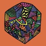 Kleuren abstract patroon op oranje achtergrond stock illustratie