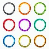 Kleuren abstracte cirkels De elementen van het lijnenembleem van malplaatje Stock Fotografie
