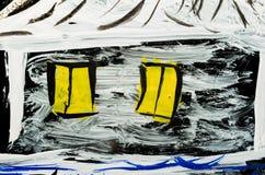 Kleuren abstracte die tekening op glas dichte omhooggaand wordt geschilderd stock foto