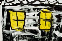 Kleuren abstracte die tekening op glas dichte omhooggaand wordt geschilderd stock foto's