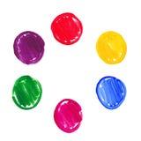 Kleuren acryl ronde vlekken Stock Foto's