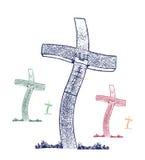 kleuren christelijk kruis stock afbeeldingen