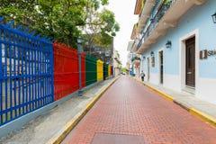 Kleuren in de Stad van Casco Viejo Panama stock foto