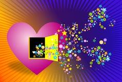 Kleuren die uit hart komen stock illustratie