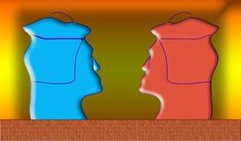 Kleuren dubbel zelfportret. Abstract portret op een gele backgr Stock Afbeelding