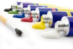 Kleuren en borstel stock afbeeldingen