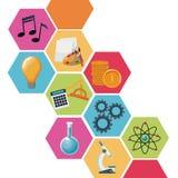 Kleuren geometrische abstracte cijfers met pictogrammen academische kennis vector illustratie