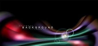 Kleuren glanzende lichteffecten voor zwarte, vloeibare stijl multicolored golvende vorm Royalty-vrije Stock Foto