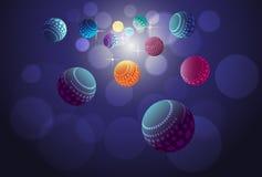 Kleuren gloeiende orbs die in ruimte vliegen Illustratie Stock Illustratie
