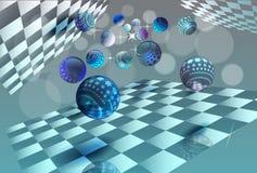 Kleuren gloeiende orbs die in ruimte vliegen Vector illustratie Vector Illustratie