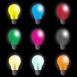 Kleuren gloeilampen - lichtbron Stock Fotografie