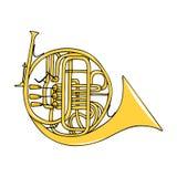 Kleuren hand-drawn muzikaal instrument - Franse hoorn royalty-vrije illustratie