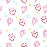 Kleuren hipster patroon met hart, diamant en driehoek op witte achtergrond Ornament voor textiel en het verpakken Vector vector illustratie