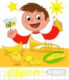 Kleuren: jongen met gele voorwerpen Stock Foto
