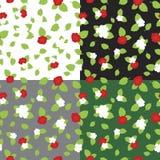 Kleuren naadloos patroon van aardbeien en bloemen Royalty-vrije Stock Fotografie