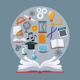 Kleuren open boek als achtergrond met de cirkel academische kennis van grenspictogrammen royalty-vrije illustratie